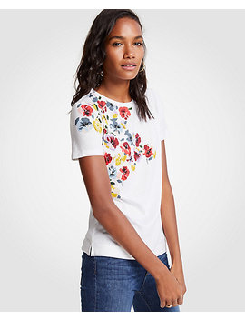 Petite Winter Floral Pima Cotton Crew Neck Tee by Ann Taylor