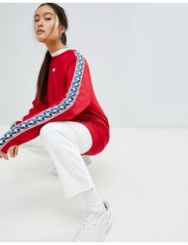 Nike High Neck Sweatshirt In Red With Taped Side Stripe by Nike