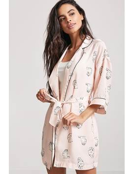 Cat Print Robe by Forever 21