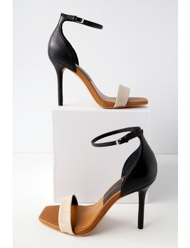 Halo Black And Natural Leather Ankle Strap Heels by Dolce Vita