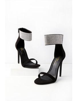 Zeke Black Suede Rhinestone Ankle Strap Heels by Lulu's