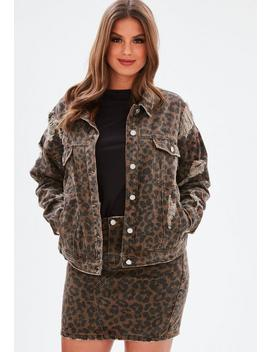 Curve Brown Leopard Print Denim Jacket by Missguided