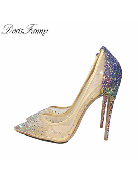 Doris Fanny Blingbling Women Shoes High Heels Stilettos Purple Glitter Shoes 12cm/10cm/8cm Sexy High Heel Pumps Size 34 43 45  by Doris Fanny Official Store