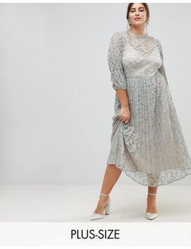 Little Mistress Plus All Over Lace Maxi Dress With Balloon Sleeve Detail by Little Mistress Plus