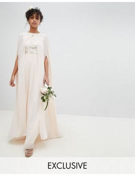 Tfnc Chiffon Maxi Bridesmaid Cape Cover Up by Tfnc