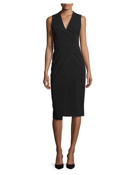 Carissa Sleeveless Faux Wrap Dress, Black by Neiman Marcus