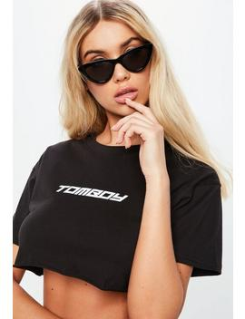 Fanny Lyckman X Missguided Black Tomboy Logo Crop Top by Missguided