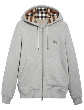 Check Detail Hooded Sweatshirt by Burberry