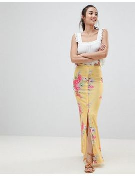 Asos Maxi Skirt With Button Front In Tea Floral Print by Asos Design