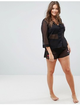 Asos Curve Premium Embroidered Sheer Shirt & Short Pyjama Set by Asos Curve