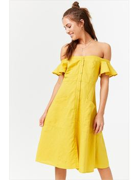 Button Front Off The Shoulder Dress by Forever 21