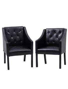Costway Set Of 2 Pcs Accent Arm Chair Tub Barrel Club Seat Tufted Pu Leather Funiture by Generic