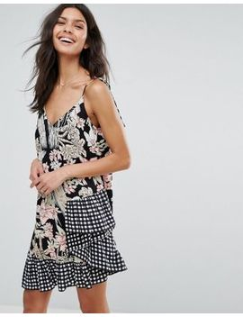 Asos Mixed Print Sundress With Gingham Ruffle Hem by Asos Collection