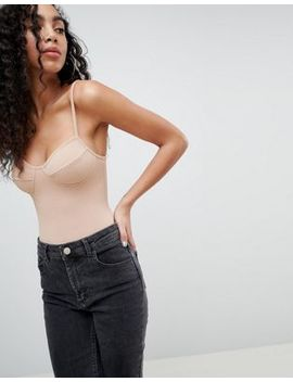 Asos Crinkled Nude Strappy Body by Asos Design