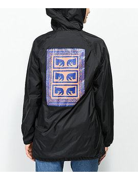 Obey Flash Back Black Hooded Trench Coat Jacket by Obey