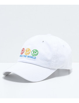 Petals By Petals & Peacocks Heal The World White Strapback Hat by Petals By Petals And Peacocks