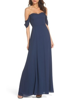 Rachel Off The Shoulder Gored Maxi Dress by Wayf