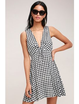 Flare And Square Black And White Gingham Dress by Lulus
