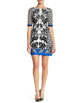 Elbow Sleeve Print Shift Dress (Petite) by Eliza J