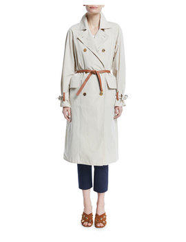 Marielle Trench Coat With Leather Belt by Tory Burch