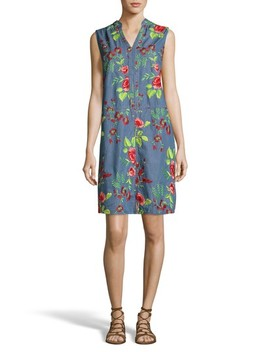 Embroidered Denim Shift Dress by Eci