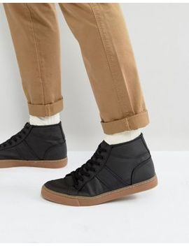 Asos Mid Top Sneakers In Black With Gum Sole by Asos