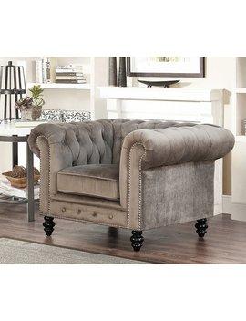 Abbyson Grand Chesterfield Grey Velvet Armchair by Abbyson