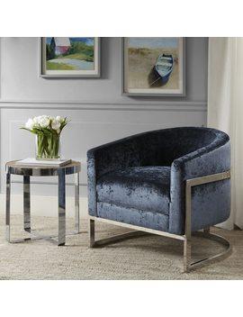 Madison Park Mateo Blue/ Chrome Accent Chair by Madison Park
