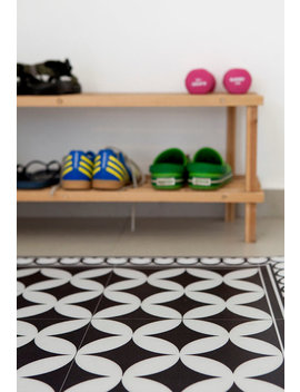 Pvc Vinyl Mat Tiles Pattern Decorative  Linoleum Rug    Color Black & White 132 Pvc Rug, Kitchen Mat Free Shipping by Etsy