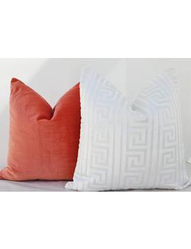 White Velvet Pillow Cover,White Velvet Greek Key Pillow Cover,Greek Key Pillow Cover,,Velvet Geometric Pillow Cover by Etsy