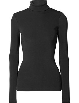 The Rib Stretch Cotton Blend Turtleneck Top by Goldsign