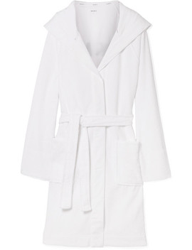 Hooded Embroidered Cotton Terry Robe by Dkny
