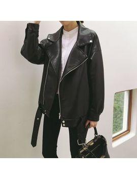 Faux Leather Biker Jacket by Miss Coco