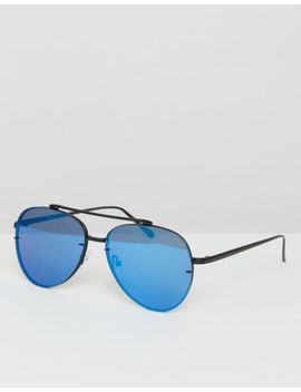 Asos Aviator Sunglasses In Matte Black Metal With Blue Mirrored Laid On Lens by Asos