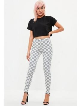 Gray Vice Highwaisted Checkboard Skinny Jean by Missguided