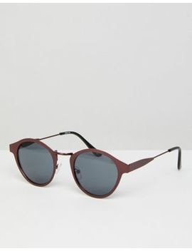 Asos Round Sunglasses In Brushed Copper Metal With Smoke Lens by Asos