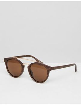 Asos Round Sunglasses In Wood Effect Frame With Brown Lens by Asos