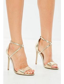 Gold Cross Strap Barely There Heels by Missguided