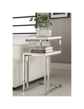White Finish Chrome Side End Snack Table by Generic
