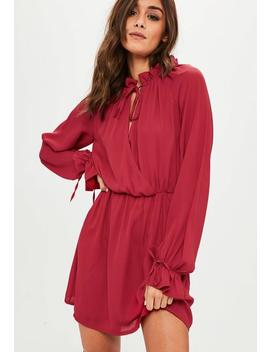 Red High Neck Long Sleeve Skater Dress by Missguided