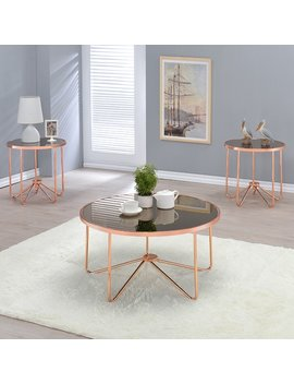 Acme Furniture Alivia Rose Gold Metal And Glass Accent Tables by Generic