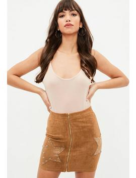 Brown Star Applique Western Faux Suede Mini Skirt by Missguided