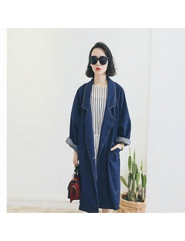 A Blazer Stylenanda Spring And Autumn Female Bf Outwear Long Plus Size Coat Loose Denim Suit Trench Mori Girl 4 Xl 5 Xl 3 Xl by Design Item Shop