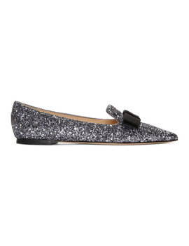 Gunmetal Glitter Gala Star Loafers by Jimmy Choo