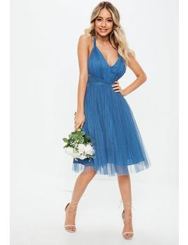 Bridesmaids Blue Mesh Plunge Mini Skater Dress by Missguided