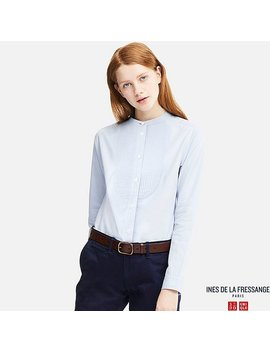 Women Ines 100 Percents Cotton Twill Stand Collar Long Sleeve Shirt by Uniqlo