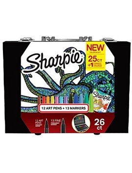 Sharpie New Coloring Kit With 12 Art Pens + 13 Markers+1 Connect The Dots Coloring Book by Sharpie