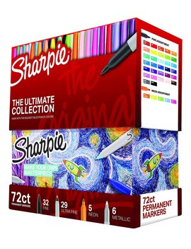 Sharpie 1983254 Permanent Markers Ultimate Collection, Fine And Ultra Fine Points, Assorted Colors, 72 Count by Sharpie