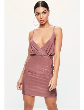 Pink Slinky Wrap Strappy Plunge Bodycon Dress by Missguided