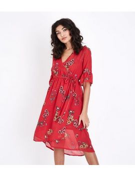 Red Floral Chiffon Wrap Front Midi Dress by New Look
